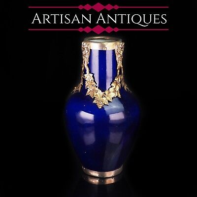 Antique French Sevres Vase Silver Mounted - Paul Milet C.1900 • 650£