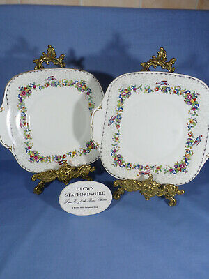 Crown Staffordshire Cake Plates Reg No 708431 Floral Border With Pheasants • 30£