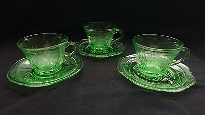 Green American Depression Glass Cup With Soucer • 15£