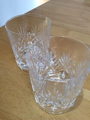 Edinburgh Crystal Cut Glass ,2 Whisky Glasses Thick Base For Stability 3 1/2  T. • 20£