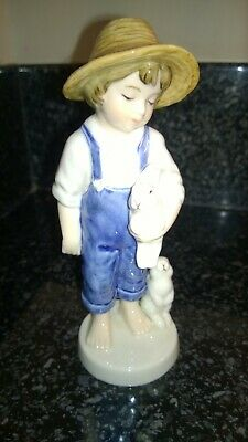 Bing & Grondahl Porcelain Boy With Rabbits Figurine 2001 Boxed Limited  Edition  • 50£