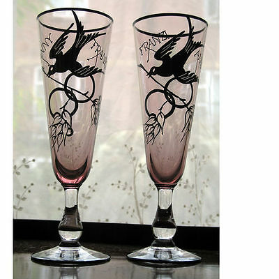An Unusual Pair Of Friendship Champagne Flutes Decorated With Birds  • 33£