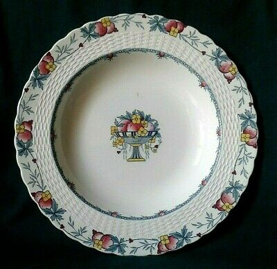 Mintons Stanhope Soup Plate Art Deco Ironstone Rimmed Soup Dish Embossed Border • 38£