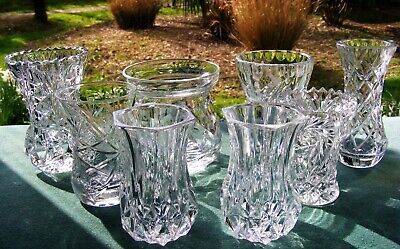 Joblot 8 Crystal / Pressed Glass Vases 3  To 4 1/4  ( 8 To 10.5 Cm ) • 28£
