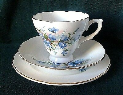 Royal Sutherland Tea Trio Bone China Tea Cup Saucer And Side Plate Blue Flowers • 20£