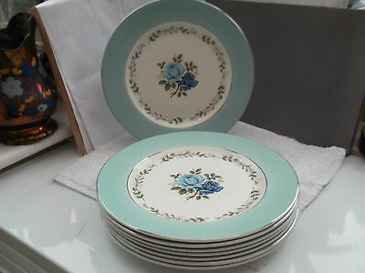 Eight  Barratts Delphantie White Dinner Plates  With A Blue Rose Pattern • 55.99£