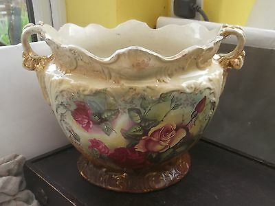 Very Large Twin - Handled Victorian Jardinier By Stanley China With  Roses    • 34.99£