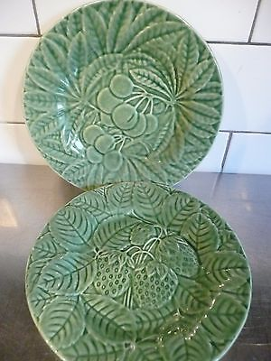 Bordallo Pinheira Portugal Green Grape And Strawberry Plates Vintage Pottery  • 24.99£