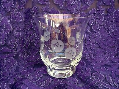 Vintage Hand Cut Etched Iridescent Clear Glass Vase • 5£