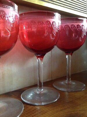 Stunning 6 X Edwardian Etched Cranberry Wine Glasses - Perfect Condition • 99.99£