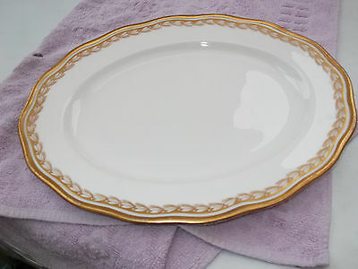 ?1902 -1920 Small Cauldon Oval Platter With A Gold Coloured Leaf Pattern • 32.79£