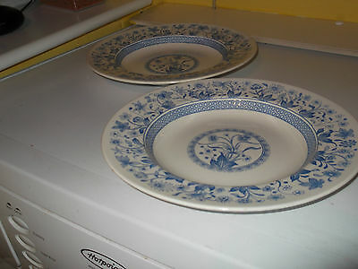 Two ?1891 Shallow Soup Bowls  With A Blue And White Lismore  Pattern • 30.71£
