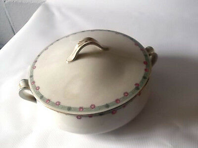? Grimwades   Lidded   Tureen     Green Band  With Pink Roses • 25.19£
