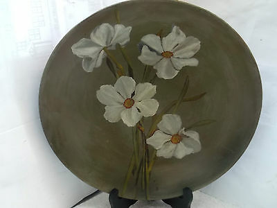 Vintage Mintons Pottery  Wall Hanging    Showing White Narcissi On Dark Green • 29.43£