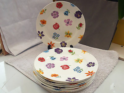 Eight Crown Trent China Salad Plates  With Colourful Floral Pattern  Orange Edge • 50£