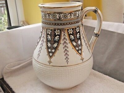 1870s MINTONS  BB VERY LARGE JUG / VASE WITH A FLORAL PATTERN  & BASKET WEAVE  • 59.19£