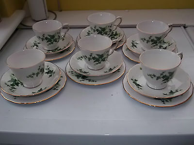 Six Royal Vale [ridgways] Cups, Saucers And Side Plates With An Ivy Leaf Pattern • 33.91£