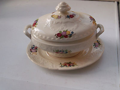 Oval Minton Lidded Sauce Tureen And Under Plate  With A  Fruit Pattern  • 33.78£