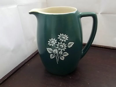 Large Size Dark Green Devon Pottery Jug With A White Floral Pattern • 25.99£