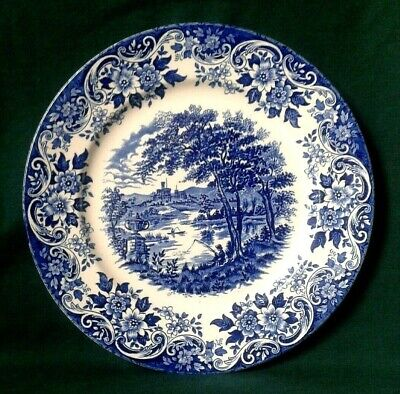 Broadhurst The English Scene Plate Ironstone Dinner Plate In Blue And White  • 18£
