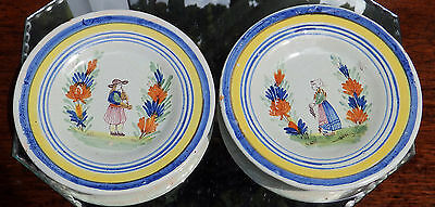 Antique Henriot Quimper / Malicorne Faience Pottery : Pair Of Small Plates • 56£