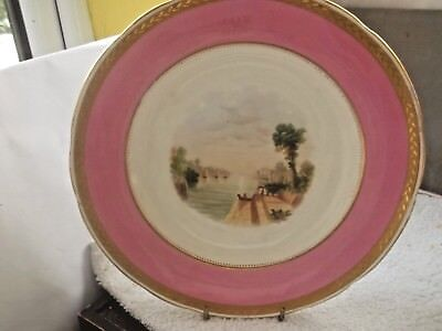 Vintage Dinner Plate By Minton  Pink Band And A Water Scene      • 30.99£