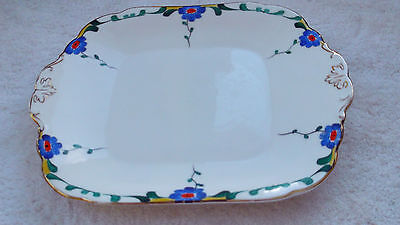 Pre 1936 Bishop & Stonier Bisto Twin-handled Bread Plate Blue Flowers Art Deco  • 24.79£