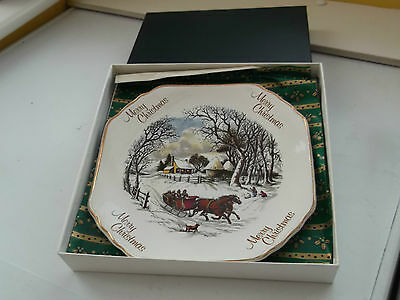 Boxed Debonair Ironstone  Christmas Plate Showing A Horse Drawn Sleigh   • 20.99£