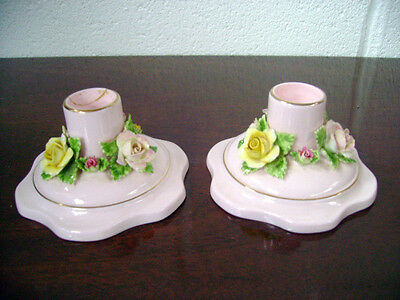 A Pair Of Adderley Floral China Pink Candlesticks With Flowers Round Base • 19.99£