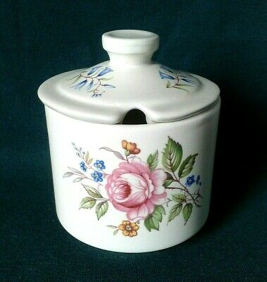 Axe Vale Pottery Mustard Pot Earthenware Condiment Jar Pink Roses & Blue Flowers • 16£