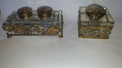 Two 19th Century Baccarat Inkwells Crystal Glass & Gilt Cages • 525£