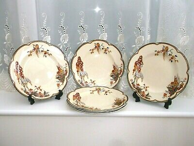 Woods Ivory Ware Rare Salad Plates *the Gables* X 6 • 18£