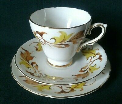Sutherland Tea Trio Bone China Teacup Saucer & Side Plate Yellow & Brown Leaves • 20£