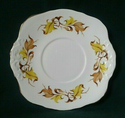 Sutherland Cake Plate Bone China Serving Platter Yellow & Brown Leaves Gold Rim • 22£