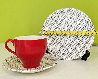 Vintage  1950s Red Black White Cup Saucer Plate British Anchor England • 7.99£