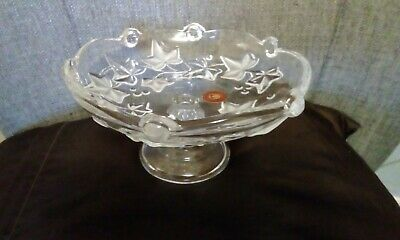 Clear Footed Frosted Pattern Walther Glass Dish • 6£