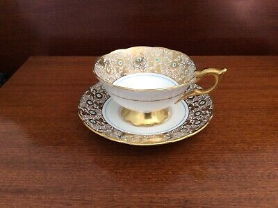 Royal Stafford Bone China Gold Chintz Footed Cup & Saucer. Excellent Condition • 15£