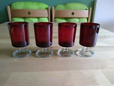Vintage/Retro 4  Ruby Red Drinking Glasses. France.  • 6.99£