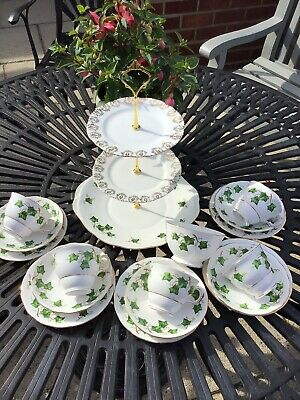 Vintage Colclough 'Ivy Leaves'  Tea Set With Cake Stand • 20£