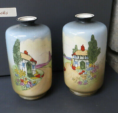 A Pair Of Hand Coloured Vintage Crownford Ware Staffordshire Vases, Cottages • 14.99£