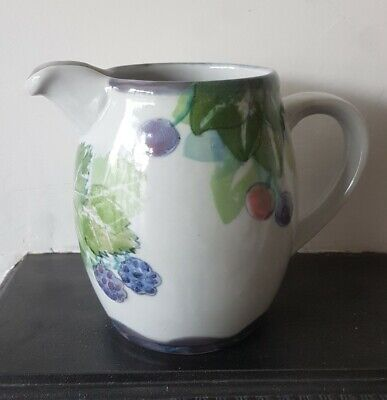 Highland Stoneware Pottery Wild Berries Handpainted 2 Two Pint Jug • 40£