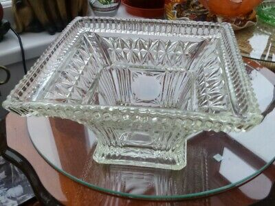 Vintage Clear Pressed Glass Bowl. Square Shape  Heavy. Poss Sowerby Or Davidson. • 18.99£