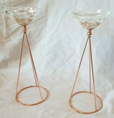 Modernist Style Tripod Copper Wire Base Faceted Cut Crystal Glass Candlesticks • 28£