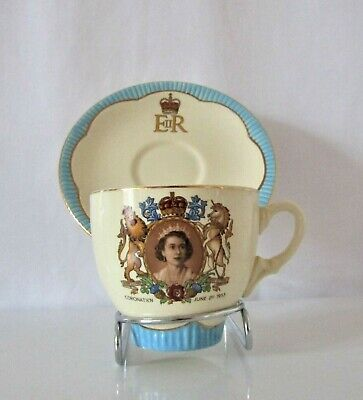 Queen Elizabeth Coronation Commemorative Teacup & Saucer Duo - Blue Trim • 21.99£