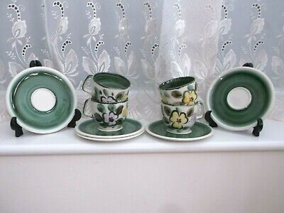 Boch Belgium **in The Mood** Hand Painted Cups And Saucers X 4 • 8£