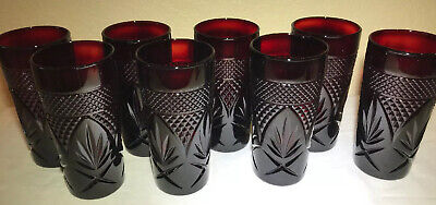 Set Of 8 Luminarc Arcoroc France Ruby Red Pressed Glass Tumblers • 62.61£