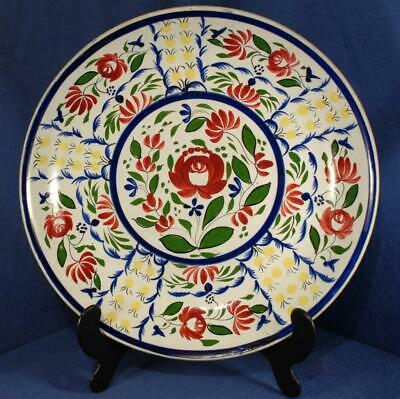 French Faience Floral Decorated Charger In The Style Of Quimper 14.25  Diameter • 15£