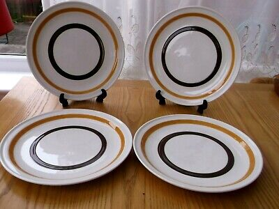 Garrigaline Vintage  Pottery Dinner Plates X 4 Brown And Caramel Striped • 15£