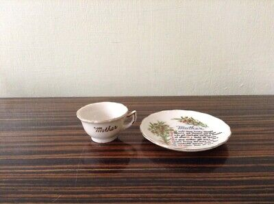 China Miniature Cup & Plate  - Gold Trim -  'Mother' - Miniature Collectables • 3.50£