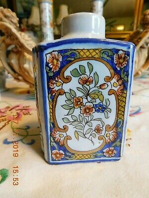 French Faience Fourmaintraux Courquin Desvres  Hand Painted Tea Caddy • 40£